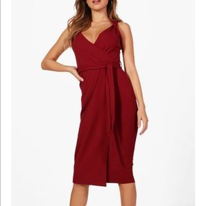 Boohoo Belted Wrap Detail Dress